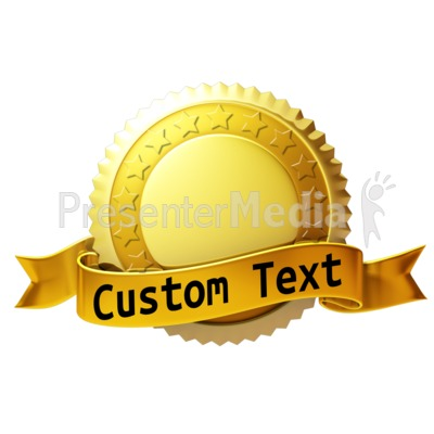 Custom Gold Seal With Ribbon Presentation clipart