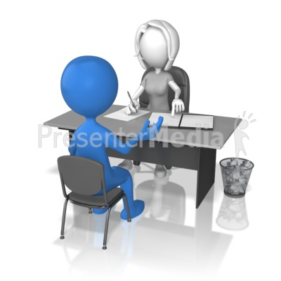 Woman Interviewing Stick Figure Presentation clipart