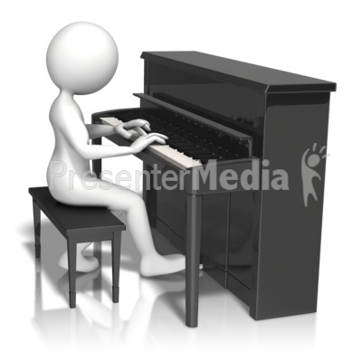 Stick Figure Playing Piano Presentation clipart