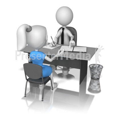 Stick Figure Interviewing Women Presentation clipart