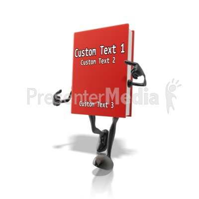 Custom Book Character Pointing At Title Presentation clipart