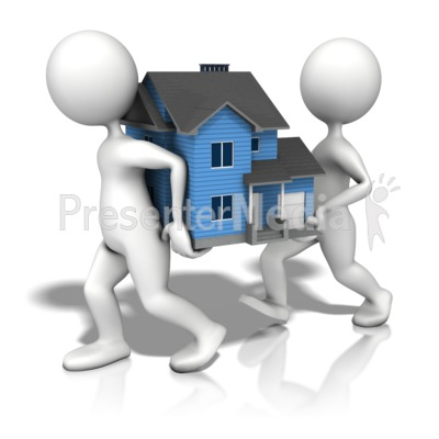 Figures Carrying House Presentation clipart