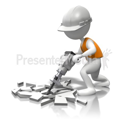 White Hard Hat Jackhammer The Concrete Presentation clipart