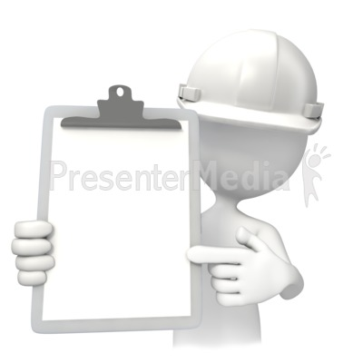 Construction White Hardhat With Clipboar Presentation clipart
