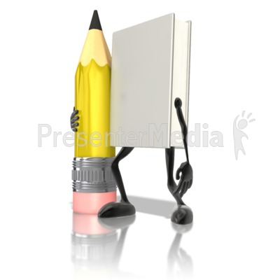 Book Character Holding Pencil Presentation clipart