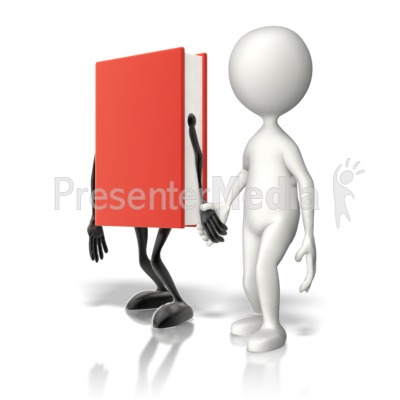 Book Holding Hands With Stick Figure Presentation clipart
