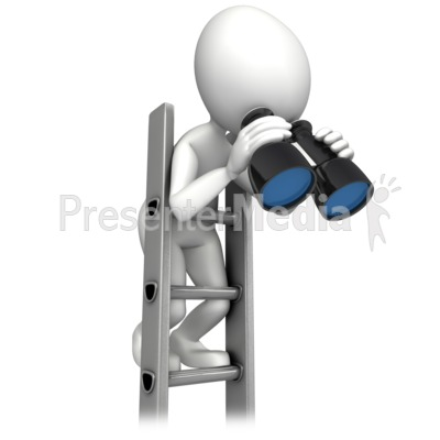 Climbing Corperate Ladder With Binocular Presentation clipart