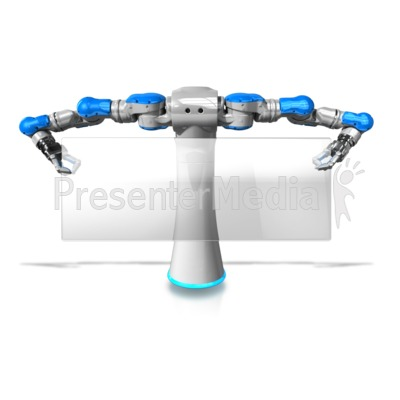 Robot Holding Glass Pane Sign Presentation clipart