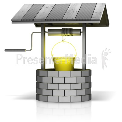 Wishing Well with Gold Bucket Presentation clipart