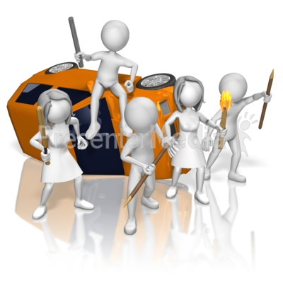 Rioters Tipped Car Presentation clipart