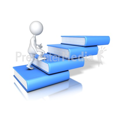 Stick Figure Walking Up Four Books Presentation clipart