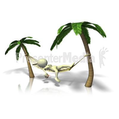 Figure Relaxing In Hammock Presentation clipart