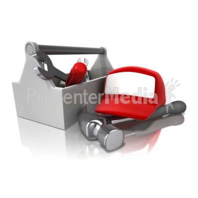 Toolbox Rack And Hat Presentation clipart