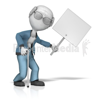 Elderly Figure Holding Sign Presentation clipart