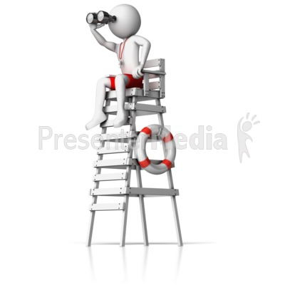Lifeguard On Watch Tower Presentation clipart