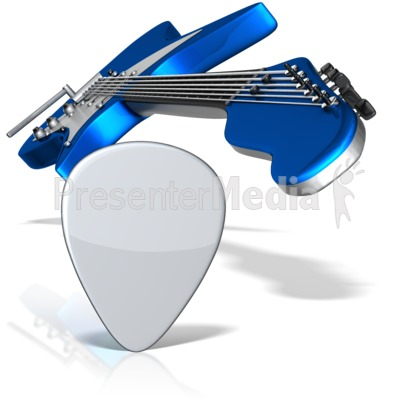 Guitar And Pick Perspective Presentation clipart