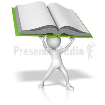 Stick Figure Holding Book Above His Head Presentation clipart
