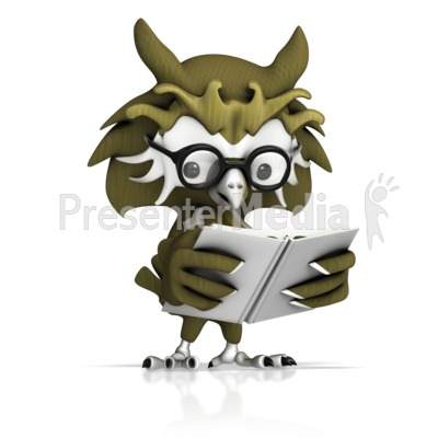 Owl Reading Book Presentation clipart