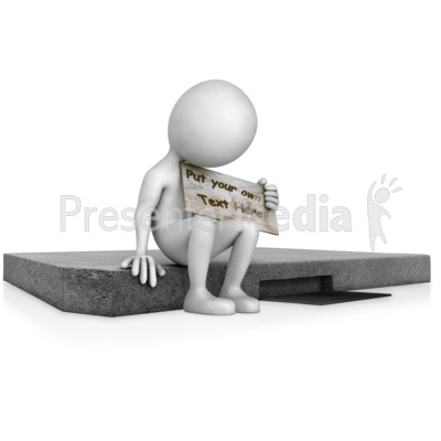 Sitting On Curb Holding Sign Presentation clipart