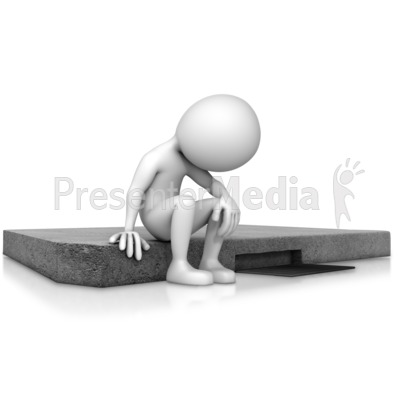 Depressed Figure Sitting On Curb Presentation clipart