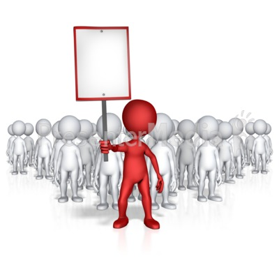 Figure Holding Sign With Followers Presentation clipart