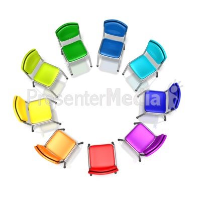 Colored Chairs Diversity Circle Presentation clipart