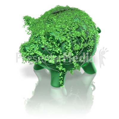 Piggy Bank Green Ivy Presentation clipart