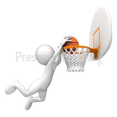 Dunking Basketball Rim Presentation clipart