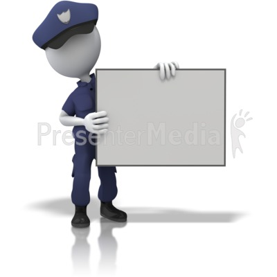Police Officer Hold Sign Presentation clipart