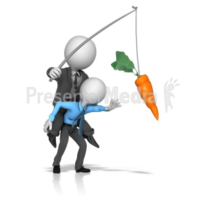 Boss Dangling Carrot for a Employee Presentation clipart