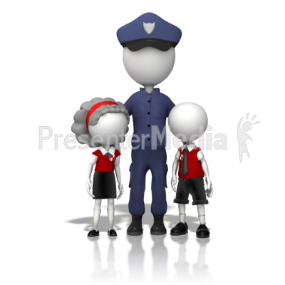 Police Officer With Children Presentation clipart