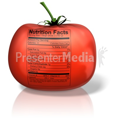 Tomato with Nutrition Label Presentation clipart