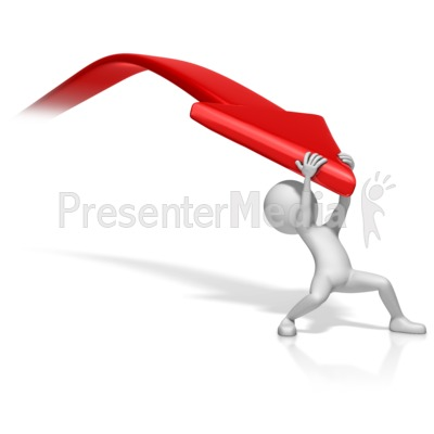 Figure Pulling Down Arrow Presentation clipart