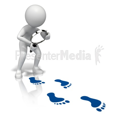 Look Closely Footprints Presentation clipart