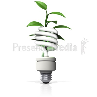 Cfl Light With Plant Growing Out Presentation clipart