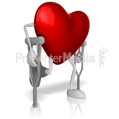 Heart In Crutches Presentation clipart