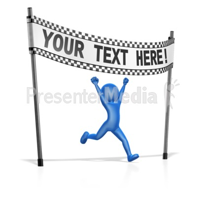 Figure At Custom Finish Line Presentation clipart