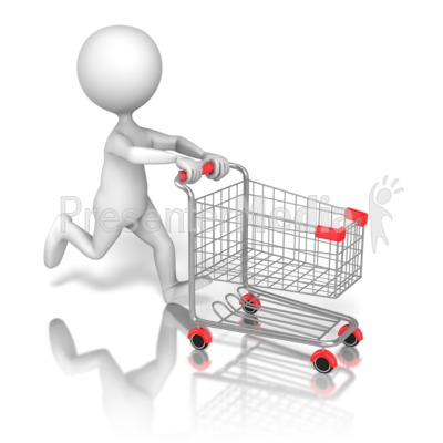 Stick Figure Running Shopping Cart Presentation clipart