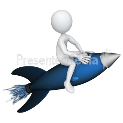 Figure Riding a Rocket Presentation clipart