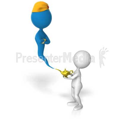 Stick Figure Summons Genie Presentation clipart