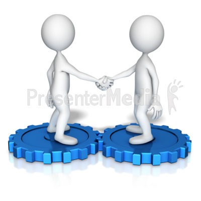 Figures Shake Hands On Gears Presentation clipart