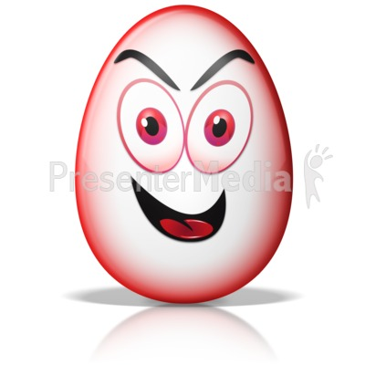 Egg Shape Crazy Evil Mad Face Presentation clipart