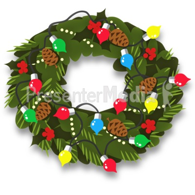 Christmas Wreath Decor Presentation clipart