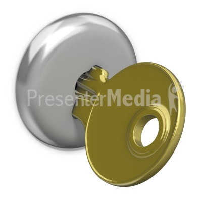 Gold Key In Lock Presentation clipart