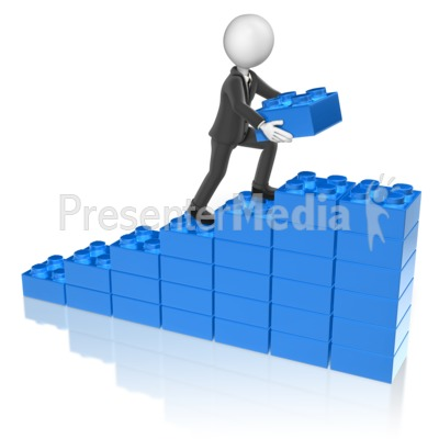 Business Man Stack Graph Presentation clipart