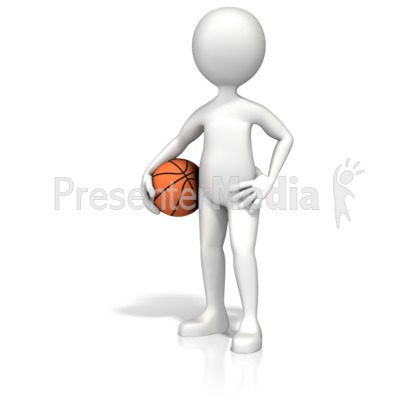 Figure Holding Basketball Presentation clipart