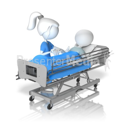 Helping Patient Figure In Hospital Bed Presentation clipart