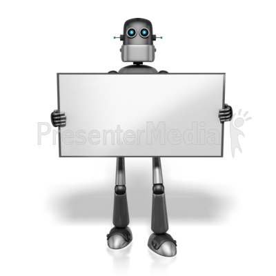 Retro Robot Holding Sign Presentation clipart