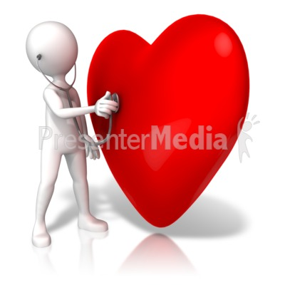 Listening To Large Heart Presentation clipart