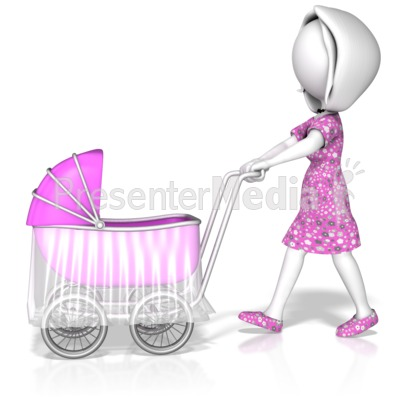 Woman Pushing Stroller Presentation clipart
